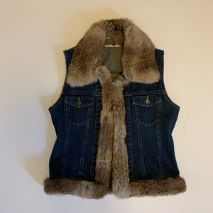 Lord + Taylor vintage rabbit fur lined denim vest